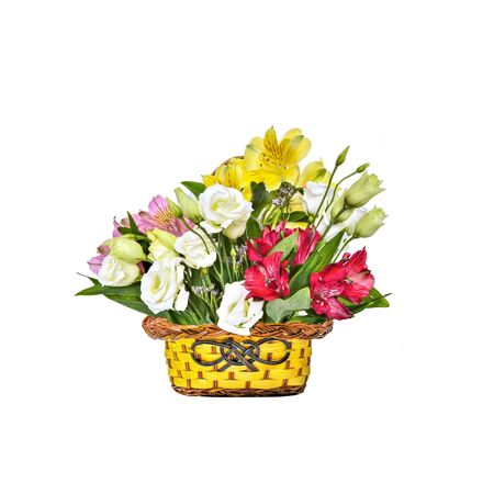 Bouquet of beautiful multicolored Alstroemeria flowers and white Eustoma (Lisianthus) flowers in basket isolated on white background - delicate detail of spring or summer floral festive or romantic design Zdjęcie Seryjne