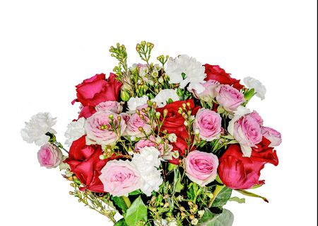 Bouquet with gentle pink and red roses and white cornation flowers isolated on white background. Floral design for any holidays or life events, festive decor or greeting card. Flower arrangement