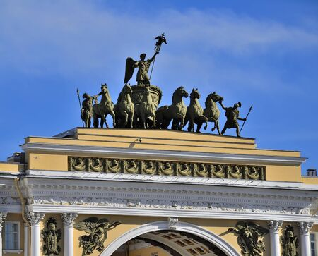 Sculptural group on Arch of General Staff Building on Palace Square, Saint Petersburg, Russia - triumphal chariot drawn by six horses with the victory goddess Nika with a laurel wreath in hand