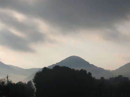 Mountain view with low hanging clouds