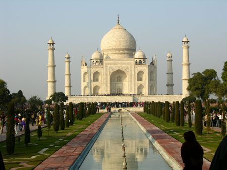 west gate: Classic view of Taj Mahal from West Gate Stock Photo