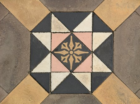 Beautiful Pavement Designs at the Western Mosque, Calcutta, India Stock Photo