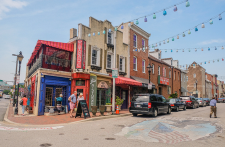 Little Italy district in Baltimore, Maryland, USA: May 5, 2018: Main street in Little Italy of Baltimore City