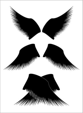silueta de angel: alas negro Vectores