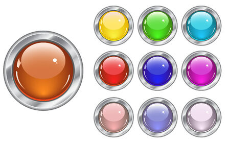glossy buttons in various colors Vector