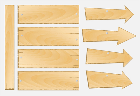 plywood: set of wooden sign vector