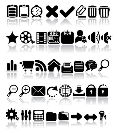 rubbish cart: Web Icon Set. Vector Image. Illustration