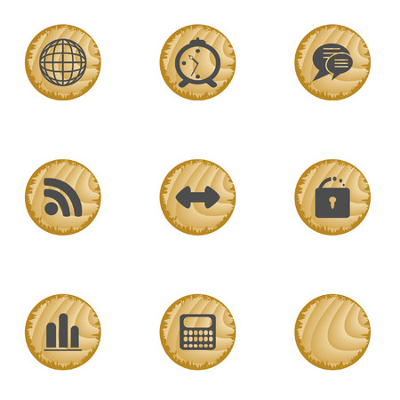 Wood web buttons. Vector illustration. Vector