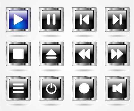 dvd player: media buttons.  Stock Photo