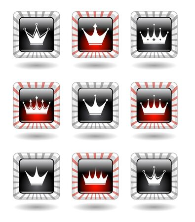 Buttons with crowns. Vector. photo