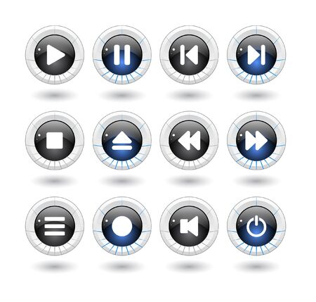 media buttons. Vector illustration Stock Illustration - 7203380