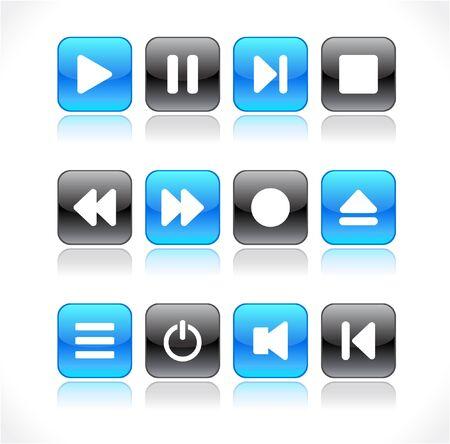 media buttons.  illustration Stock Illustration - 7420469