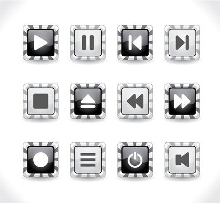 media buttons.  illustration Stock Illustration - 7600734