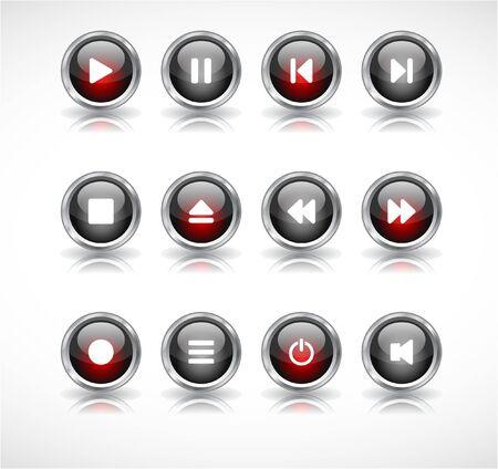 media buttons.  illustration Stock Illustration - 7600740