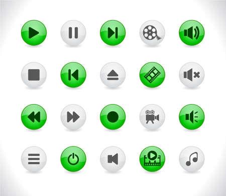 Media buttons Stock Vector - 8623995