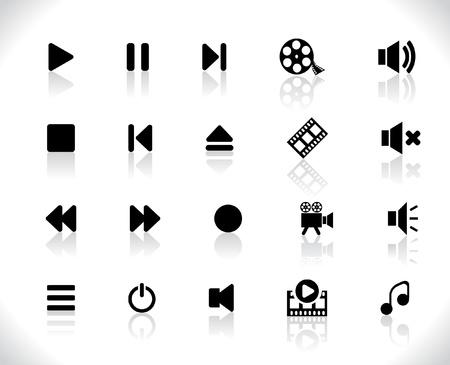 Iconos de medios de comunicación Ilustración de vector