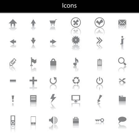 phone money: Conjunto de iconos negros con reflaction