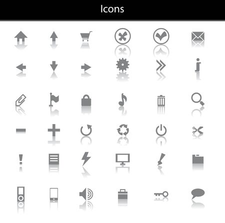 folder lock: Set of black icons with reflaction Illustration