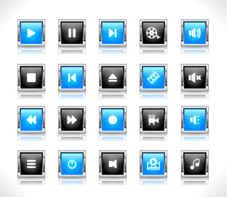 Shiny color buttons with media icons Stock Vector - 9037365