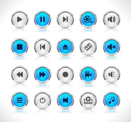 botones musica: Botones de colores brillantes con iconos de medios