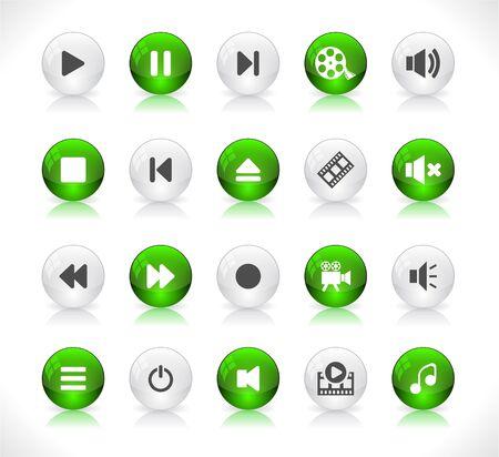 Botones de colores brillantes con iconos de medios Ilustración de vector