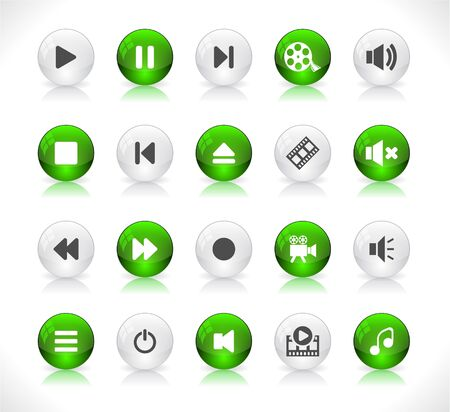 Shiny color buttons with media icons Stock Vector - 9037374