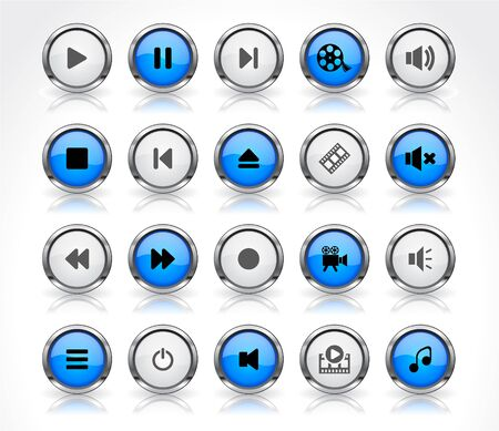 Shiny color buttons with media icons