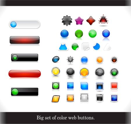Big set of color shiny buttons Vector