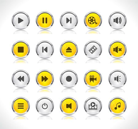 Shiny color buttons with media icons Stock Vector - 9037369