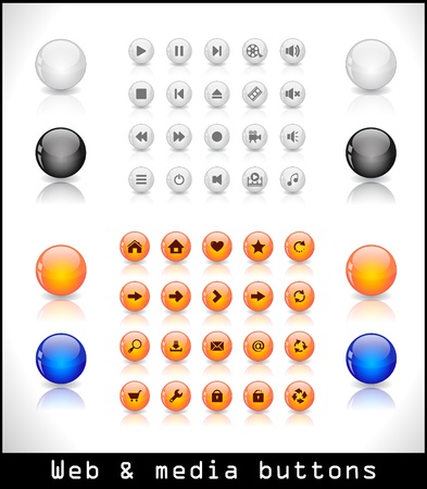 Set of media and web buttons Stock Vector - 9037367