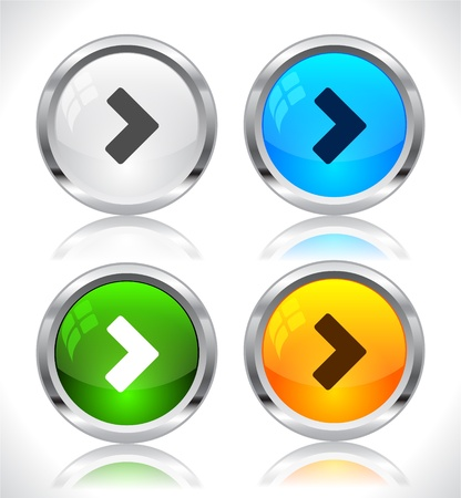 Metal web buttons. Vector illustration. Stock Vector - 9107276