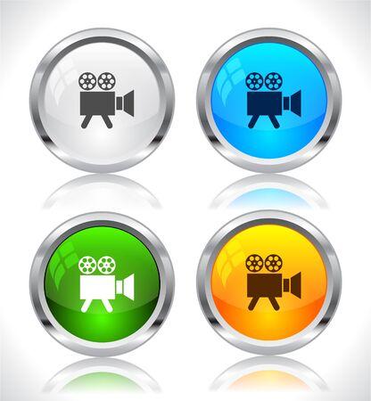 Metal web buttons. Vector illustration.
