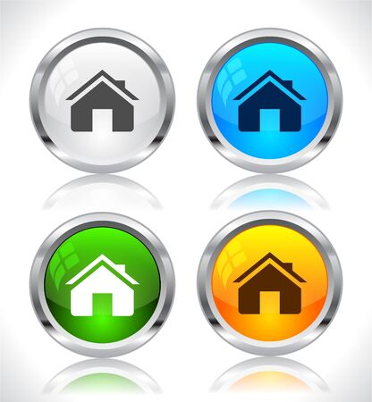 Metal web buttons. Vector illustration. Stock Vector - 9107278
