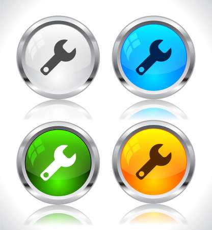 Metal web buttons. Vector illustration. Stock Vector - 9107280