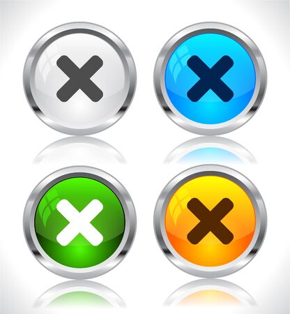 Metal web buttons. Vector illustration.