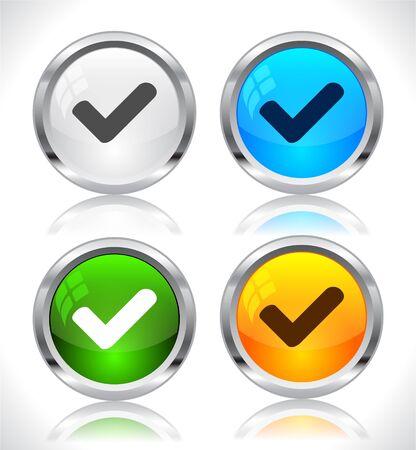 confirmed: Metal web buttons. Vector illustration.