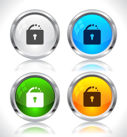 Metal web buttons. Vector illustration. Stock Vector - 9107300