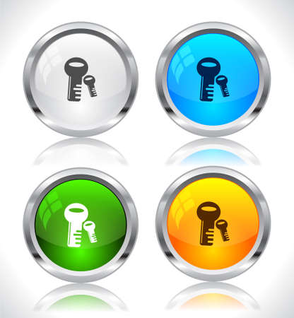 Metal web buttons. Vector illustration. Stock Vector - 9107317
