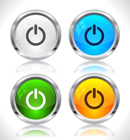 buttons vector: Metal web buttons. Vector illustration.