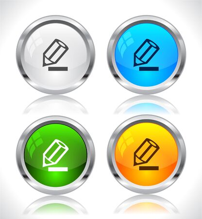 Metal web buttons. Vector illustration. Stock Vector - 9107321