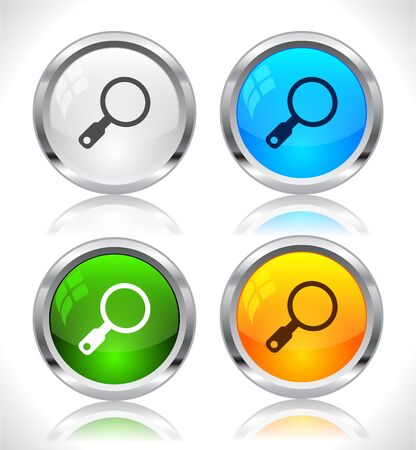 Metal web buttons. Vector illustration. Stock Vector - 9107309