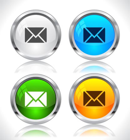 email address: Metal web buttons. Vector illustration.