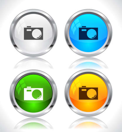 vector buttons: Metal web buttons. Vector illustration.