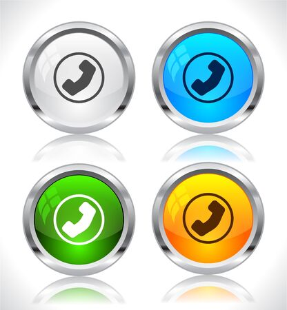 metal buttons: Metal web buttons. Vector illustration.
