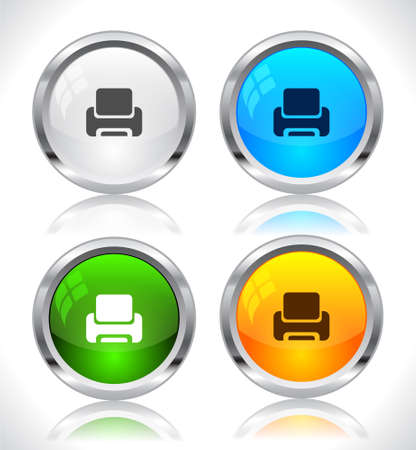 Metal web buttons. Vector illustration. Stock Vector - 9107325