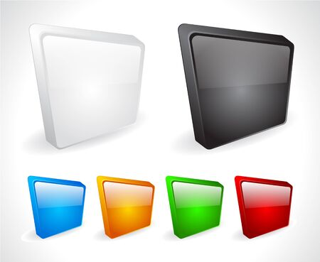 Color 3d buttons for web. Vector