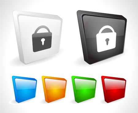 Color 3d buttons for web. Vector Stock Vector - 9107451