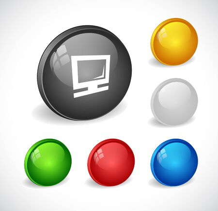 rounded circular: Color 3d buttons for web. Vector