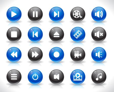 Set of media buttons. Vector.