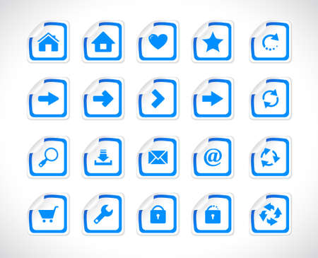 Stickers with icons. Vector illustration. Vector
